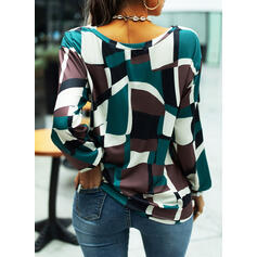 Geometric Print Round Neck Long Sleeves T-shirts
