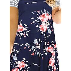 Print/Floral/Striped Short Sleeves Shift Above Knee Casual/Plus Size Dresses