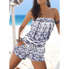 Print Strapless Sleeveless Casual Boho Vacation Romper