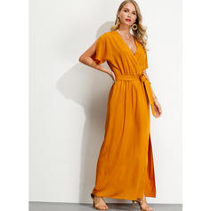 Solid Short Sleeves A-line Maxi Casual/Vacation Dresses
