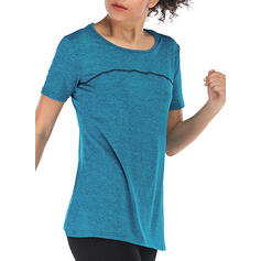 Round Neck Short Sleeves Solid Color Sports Tees