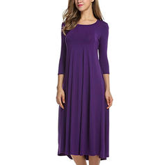 Solid 3/4 Sleeves A-line Casual Midi Dresses