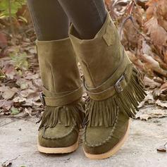 Femmes Tissu Talon plat Bottes mi-mollets Bottes neige avec Boucle Tassel chaussures