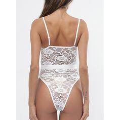 Polyester Lace Embroidery Floral Spaghetti Strap Eyelash Lace V Neck Teddy