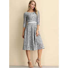 Lace/Solid 3/4 Sleeves A-line Knee Length Casual/Elegant Dresses
