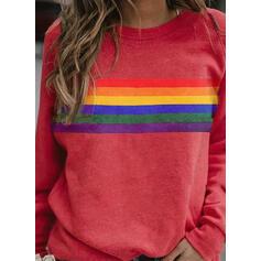 Streep Ronde nek Lange Mouwen Sweatshirts
