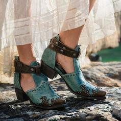 Kvinder PU Stor Hæl Ankelstøvler med Spænde sko