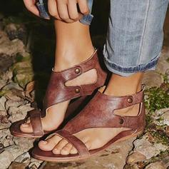 Femmes PU Talon plat Sandales À bout ouvert avec Rivet Boucle chaussures