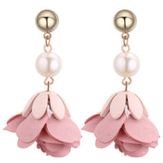 Fashionable Cloth Imitation Pearls Copper Ladies' Fashion Earrings