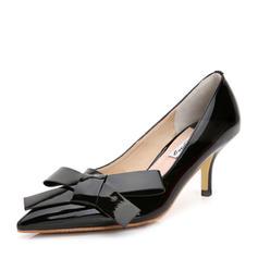 Femmes Cuir verni Talon stiletto Escarpins avec Bowknot chaussures