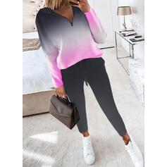 Tisk Casual Plus mărimea sweatshirts & Ținute din două piese Set ()