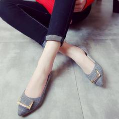 Femmes Tissu Talon plat Chaussures plates Bout fermé avec Boucle chaussures