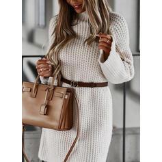 Egyszínű Hosszú ujjú Zsák Térd feletti Hétköznapokra Sweter φορέματα