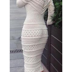 Einfarbig Lange Ärmel Figurbetont Pullover/Bleistift Elegant Midi Kleider