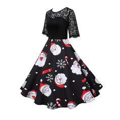 Print 1/2 Sleeves A-line Knee Length Christmas Skater Dresses