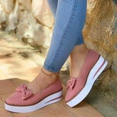 De mujer PU Tacón bajo Planos Cerrados con Bowknot zapatos