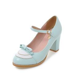 Női Műbőr Chunky sarok Magassarkú Zárt lábujj Mary Jane -Val Csokornyakkendő cipő