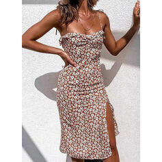 Print/Floral Sleeveless Sheath Knee Length Sexy Slip Dresses