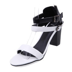Women's Leatherette Chunky Heel Sandals Pumps Peep Toe Mary Jane With Buckle shoes
