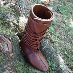 Vrouwen Kunstleer Flat Heel Flats Laarzen met Vastrijgen schoenen