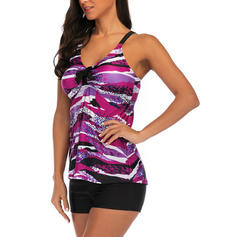 Splice color Strap Elegant Tankinis Swimsuits