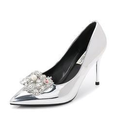 Femmes Cuir verni Talon stiletto Escarpins Bout fermé avec Strass Perle d'imitation chaussures