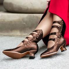 Kvinnor PU Tjockt Häl Stövlar med Spänne skor