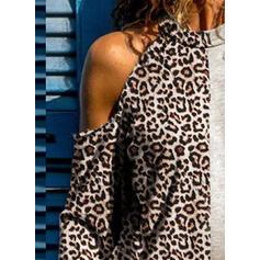 leopardo Spalle esposte Maniche lunghe Casuale Maglieria Camicie