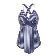 Stripe V-neck Elegant Fashionable Beautiful Tankinis Swimsuits