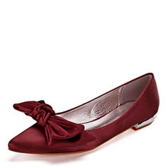 Femmes Similicuir Talon plat Bout fermé Chaussures plates avec Bowknot