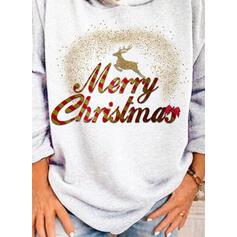 Animal Print Figure Long Sleeves Christmas Sweatshirt