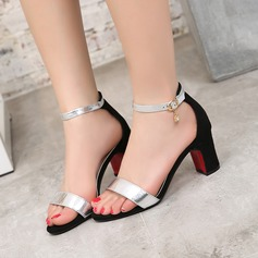 Women's Leatherette Velvet Chunky Heel Sandals Pumps With Rhinestone shoes