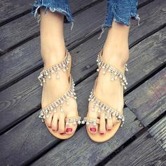 De mujer PU Tacón plano Sandalias Planos con Perlas de imitación zapatos