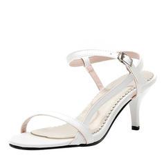 Women's Leatherette Stiletto Heel Sandals Pumps Peep Toe Slingbacks With Buckle shoes