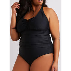 Solid Color Halter U Neck Elegant Attractive Plus Size One-piece Swimsuits