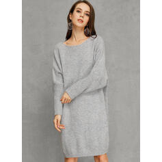 Solide Ronde Hals Casual Sweaterjurk