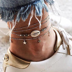 Layered Alloy With Shell Star Anklets (Set of 3)