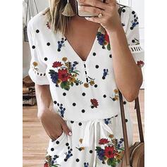 Floral Print Polka Dot V-Neck Short Sleeves Casual Romper