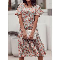 Print/Floral Short Sleeves A-line Casual/Elegant Midi Dresses