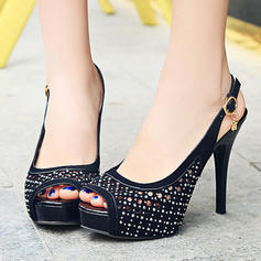 Women's PU Stiletto Heel Pumps Platform With Buckle shoes