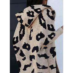 leopard S kapucí Casual Kardigan