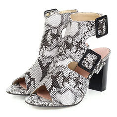 Women's PU Chunky Heel Sandals Peep Toe Slingbacks With Buckle shoes