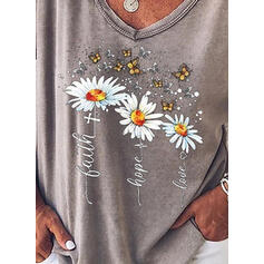 Floral Animal Print Figure V-Neck Short Sleeves Casual T-shirts