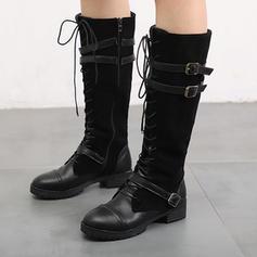 Vrouwen PU Low Heel Laarzen met Gesp Vastrijgen schoenen