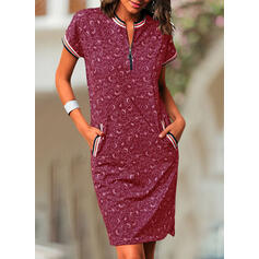 Print Short Sleeves Bodycon Knee Length Casual/Elegant Dresses