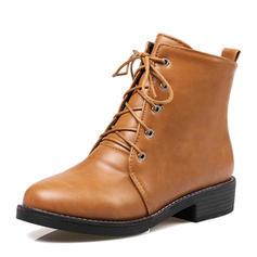 Femmes PU Talon bottier Plateforme Bout fermé Bottes Bottines avec Dentelle chaussures