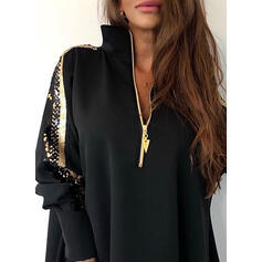 Sequins Lapel Long Sleeves Sweatshirt