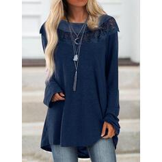 Blonder Solid rund hals Lange ærmer Sweatshirts