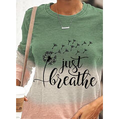 Print Figure Dandelion Gradient Round Neck Long Sleeves Sweatshirt