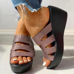 Frauen PU Keil Absatz Sandalen Peep Toe Pantoffel mit Hohl-out Schuhe